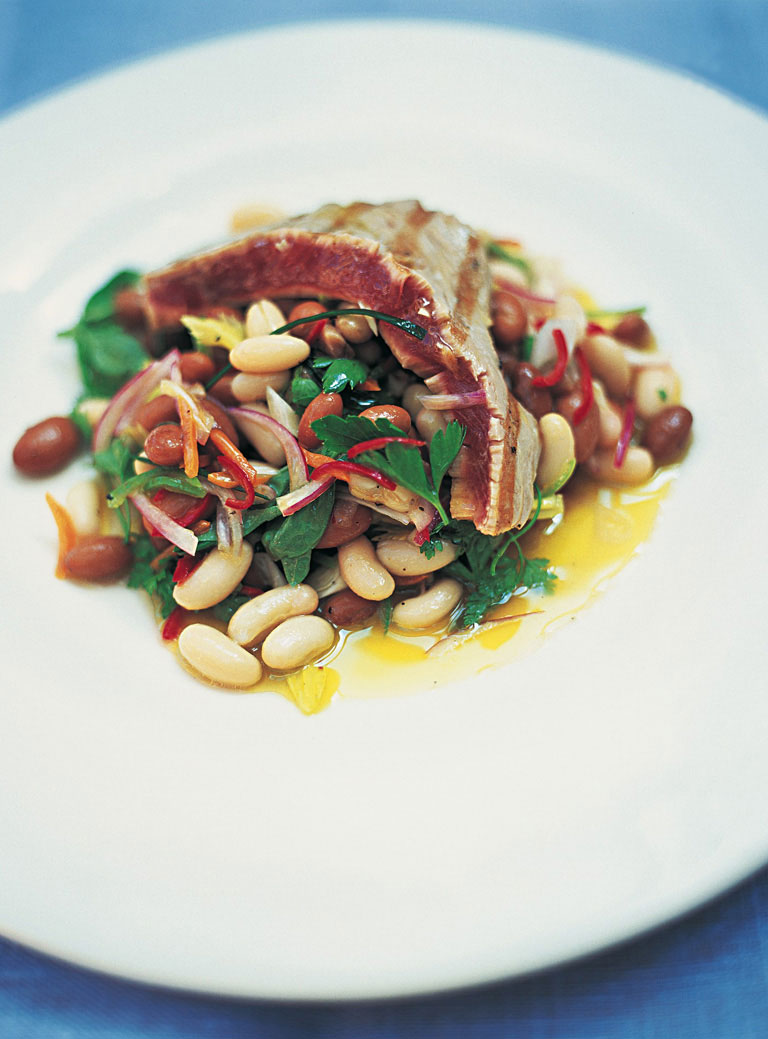 Grilled Tuna with Beans and Herbs