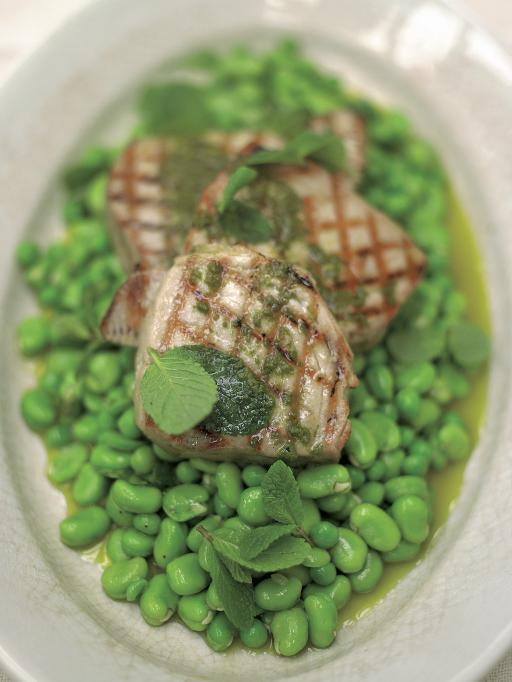 Grilled Tuna with Oregano Oil, Peas and Beans