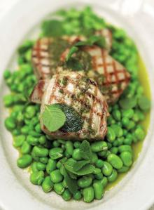 Chargrilled tuna with oregano oil and beautifully dressed peas and broad beans