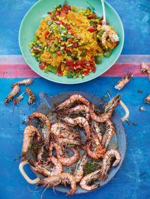 Grilled Cajun prawns