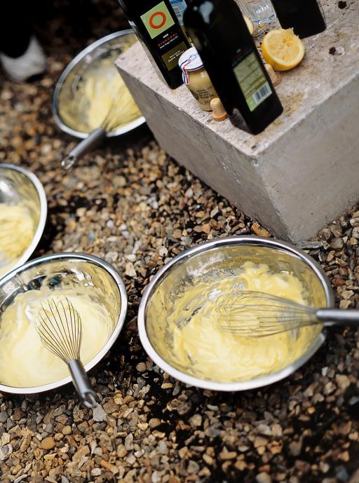 Mixing a bowl of Aioli