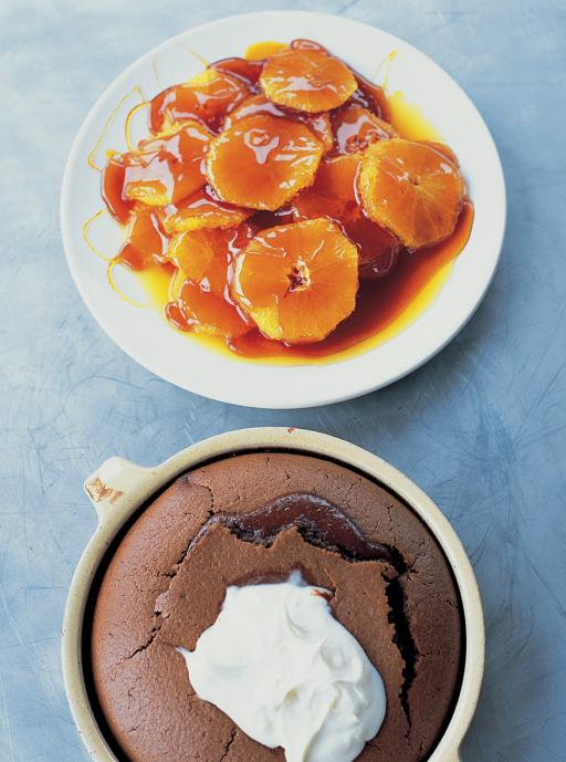 Chocolate Clafoutis with Caramelised Oranges