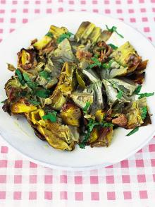 Cinder-baked artichokes with lemon, bay and prosciutto