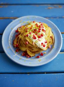 Coconut pancakes with pomegranate jewels