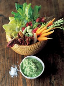 Cool crudite veggies with a minted pea and yoghurt dip