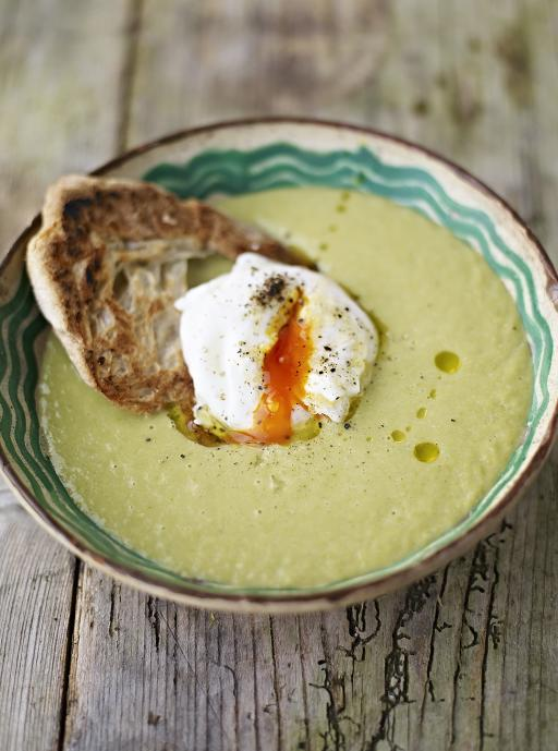 Asparagus Soup  with Poached Egg on Toast