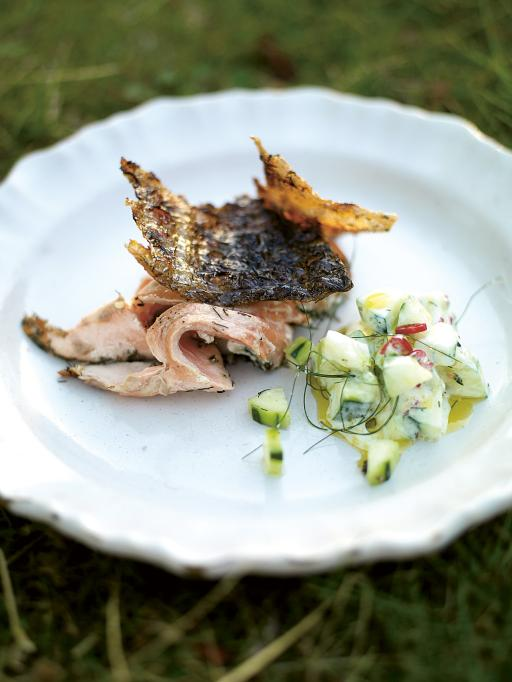 BBQ Salmon with Cucumber Yoghurt