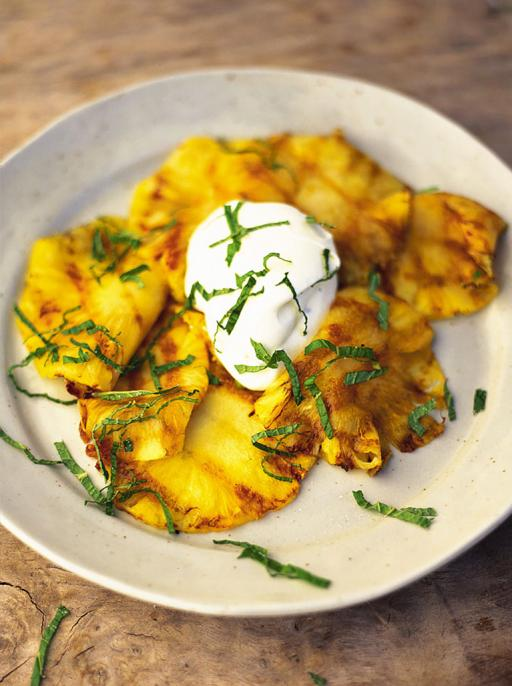 fresh pineapple with crème fraiche and mint