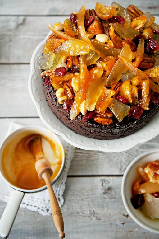 fruit and nut topped Christmas cake
