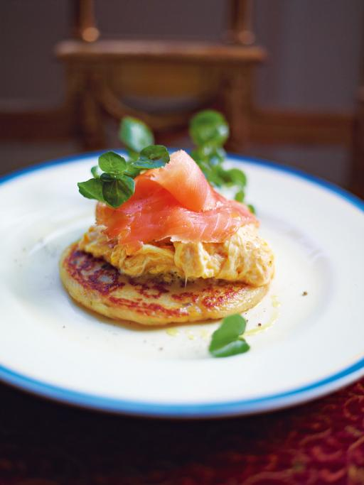 Potato Scones with Smoked Salmon and Scrambled Eggs