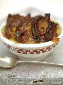 Good old bread and butter pudding with a marmalade glaze and cinnamon and orange butter