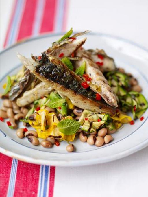 Grilled Mackerel with a Courgette and Bean Salad