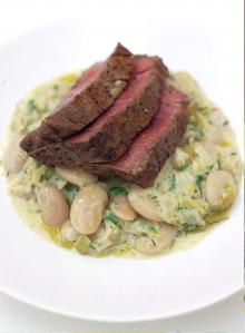 Grilled fillet steak with the creamiest white beans and leeks