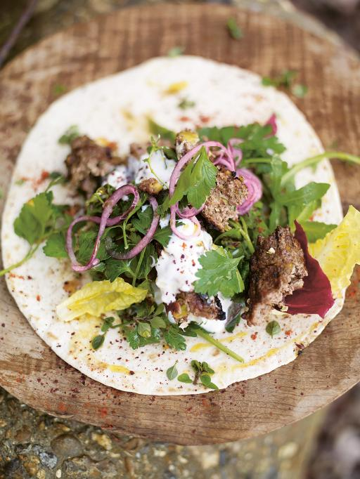 lamb kofta kebabs with pistachios & spicy salad wrap