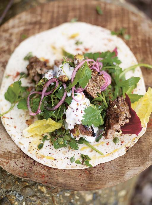 lamb kofta kebabs with pistachios & spicy salad wrap