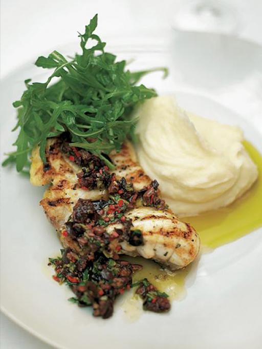 Monkfish with Black Olive Sauce and Lemon Mash