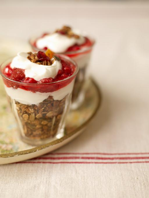 homemade granola with berry compote