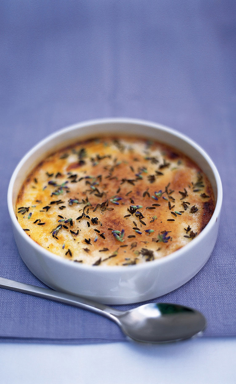 Crème Brulee topped with lavender flowers