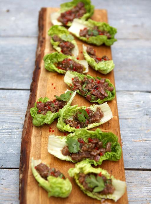 Tuna Ceviche on Lettuce