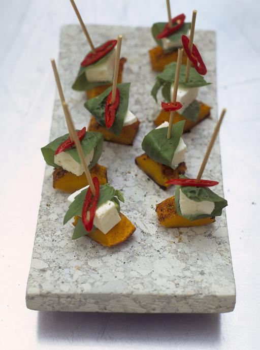 Mozzarella & squash skewers