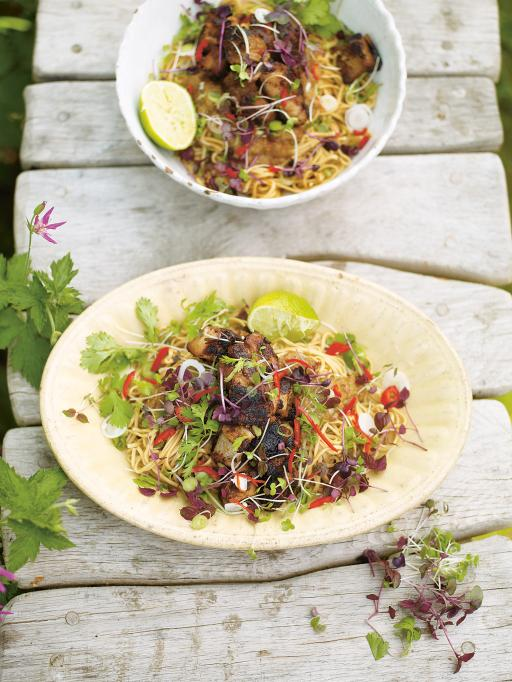 hot and sour rhubarb and crispy pork with noodles