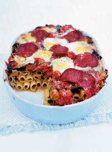 Oven-baked rigatoni with wild boar salami