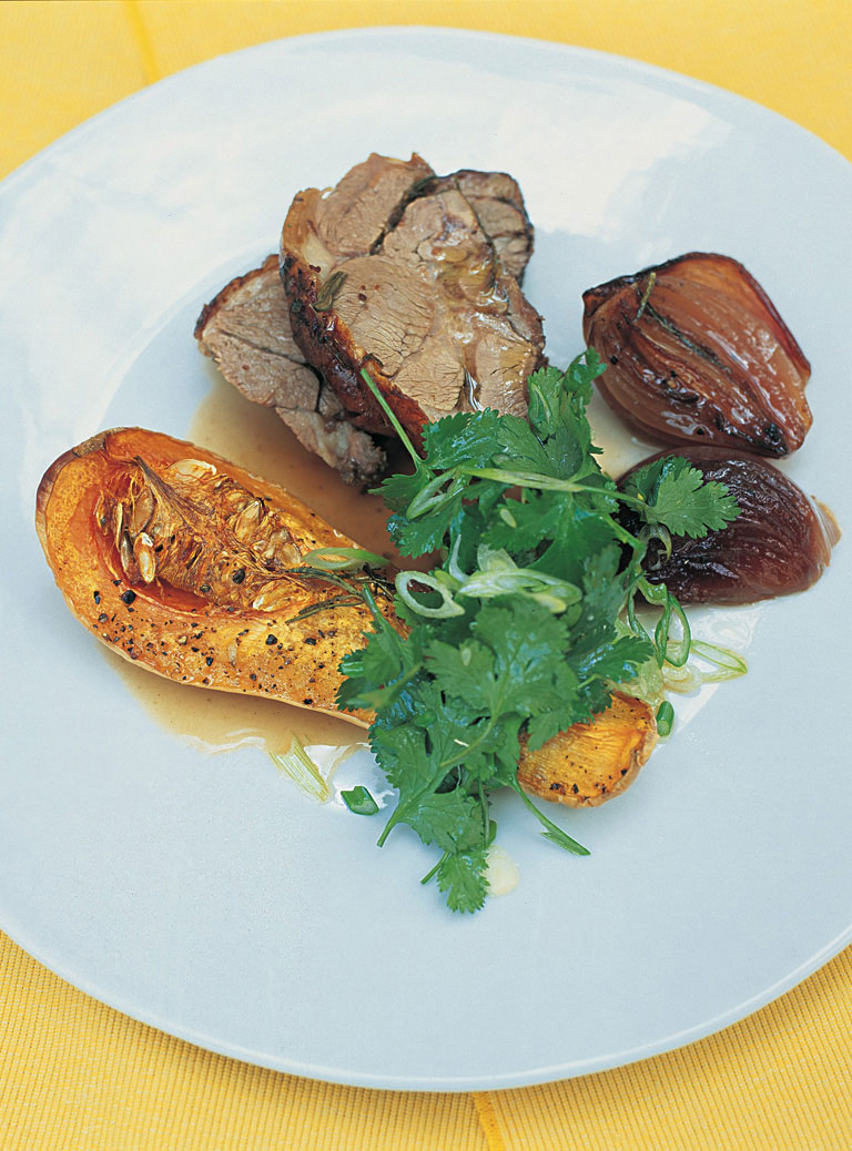 pot-roasted shoulder of lamb with roasted butternut squash and sweet red onions.