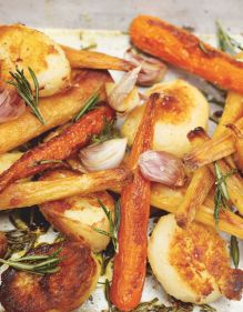 Roast potatoes, parsnips and carrots