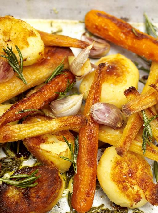 Roast Potatoes  with Carrots and Parsnips