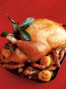 Roast turkey with spiced cranberry, bacon and walnut stuffing