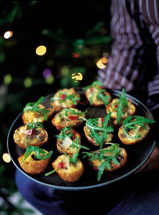 Potato Skins  with Gorgonzola, Rocket and Mustard Fruits