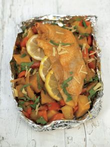 Roasted chicken breast with lemony bombay potatoes