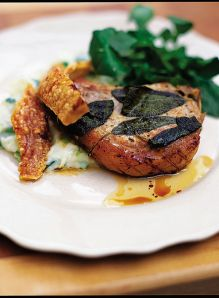 Roasted pork chops with sage and champ