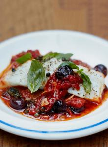 Baked white fish with olives and a simple tomato sauce