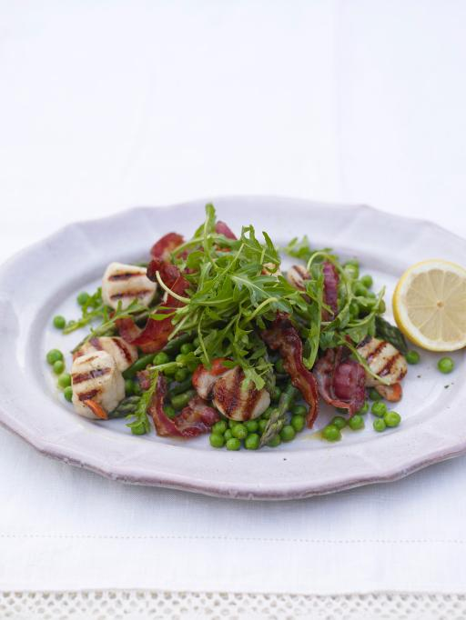 scallops and pea and asparagus salad