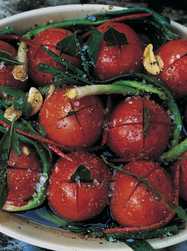 Balsamic Tomatoes & Baby Leeks