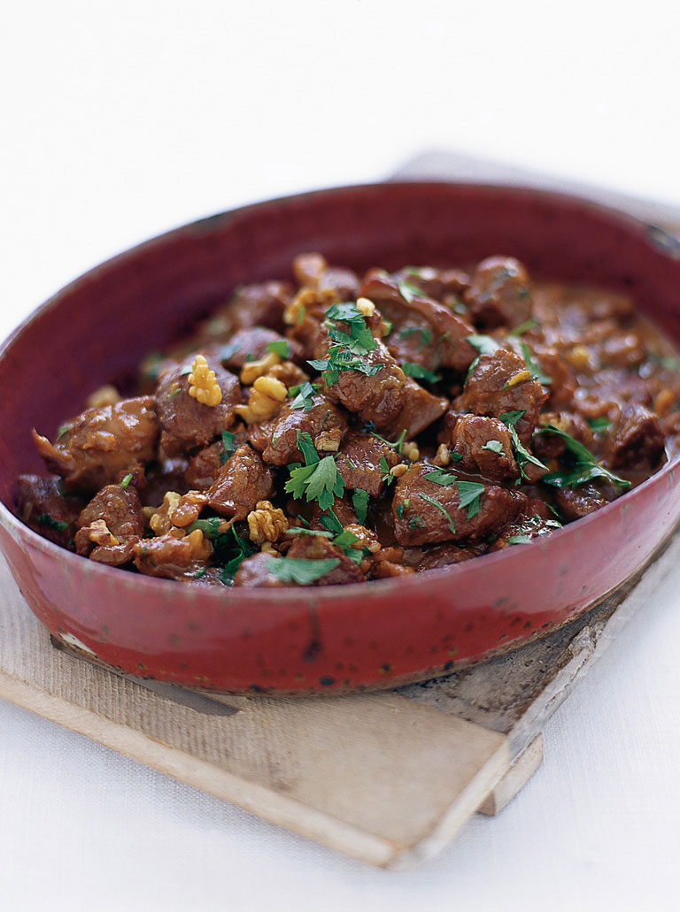spiced lamb stew with walnuts and pomegranate