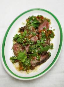 Steak and salsa verde