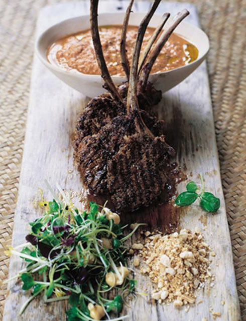 barbecued lamb with spiked hummus and nuts