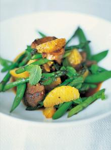 Stir-fried duck with sugar snap peas and asparagus