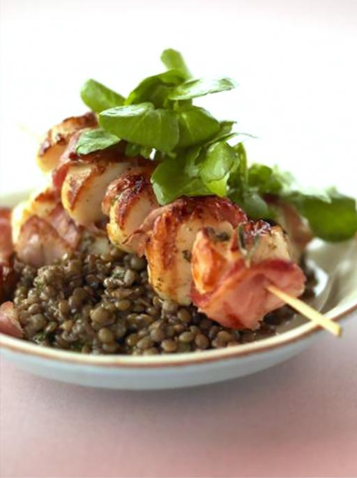 Barbecued Scallops and lentils