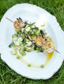 Bay salt prawn skewers with summer veg