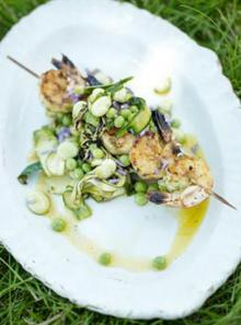 Bay salt prawn skewers with summer veg