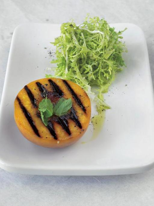 grilled peach & frisee salad with goats cheese dressing