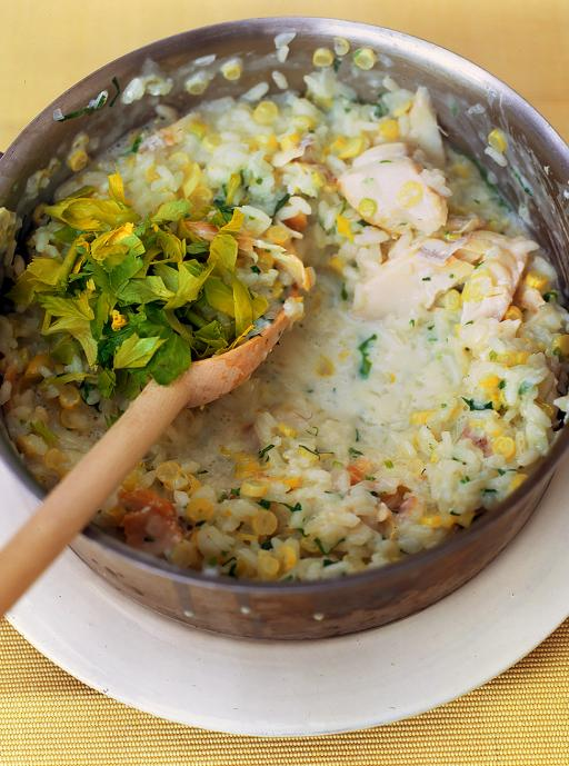 Yellow bean, vodka and smoked haddock risotto