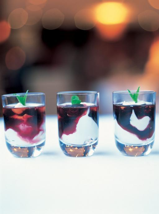 yoghurt with blueberry jam and elderflower cordial