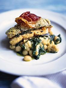 Roast trout with spinach, sage and prosciutto
