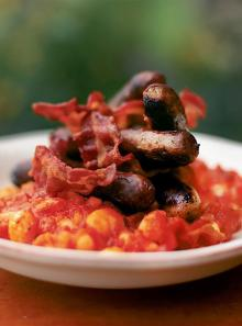 Sausages with real baked beans