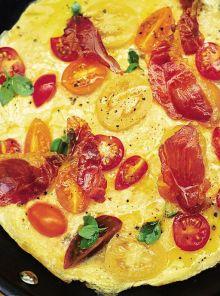Tomato, basil and prosciutto omelette