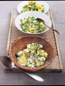 New potato salad with garlic mayonnaise and cress